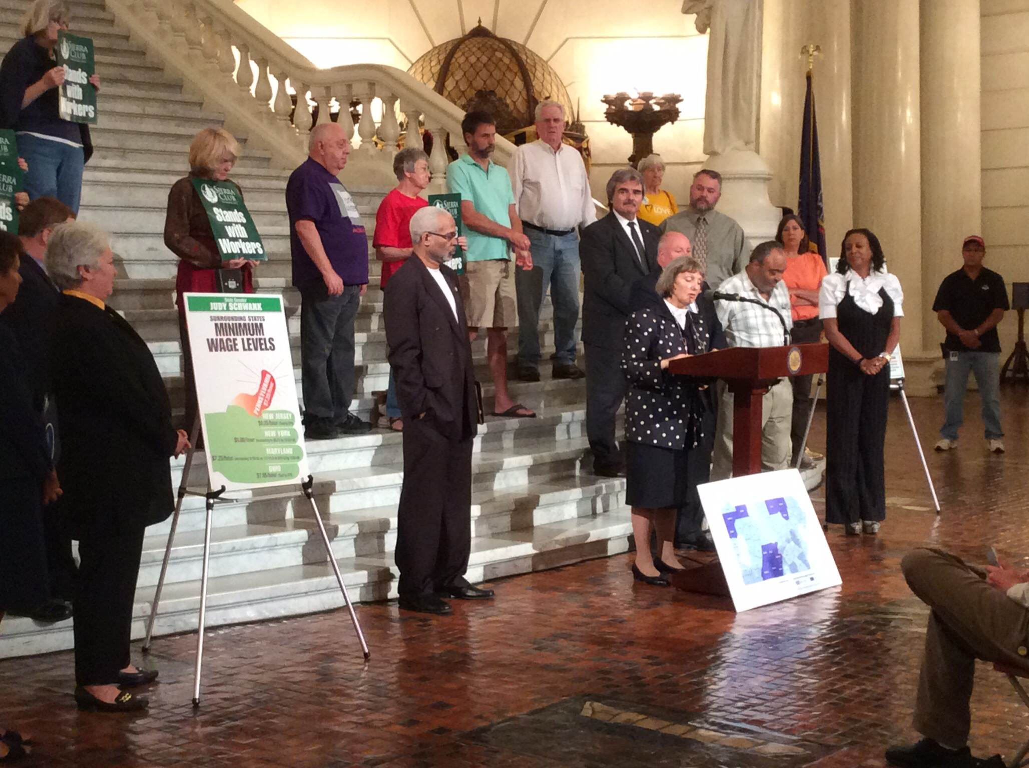 Sandy Strauss, of the PA Council of Churches, speaks in Harrisburg.
