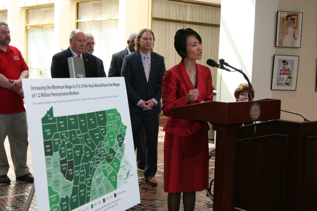 State Representative Patty Kim speaks in Harrisburg