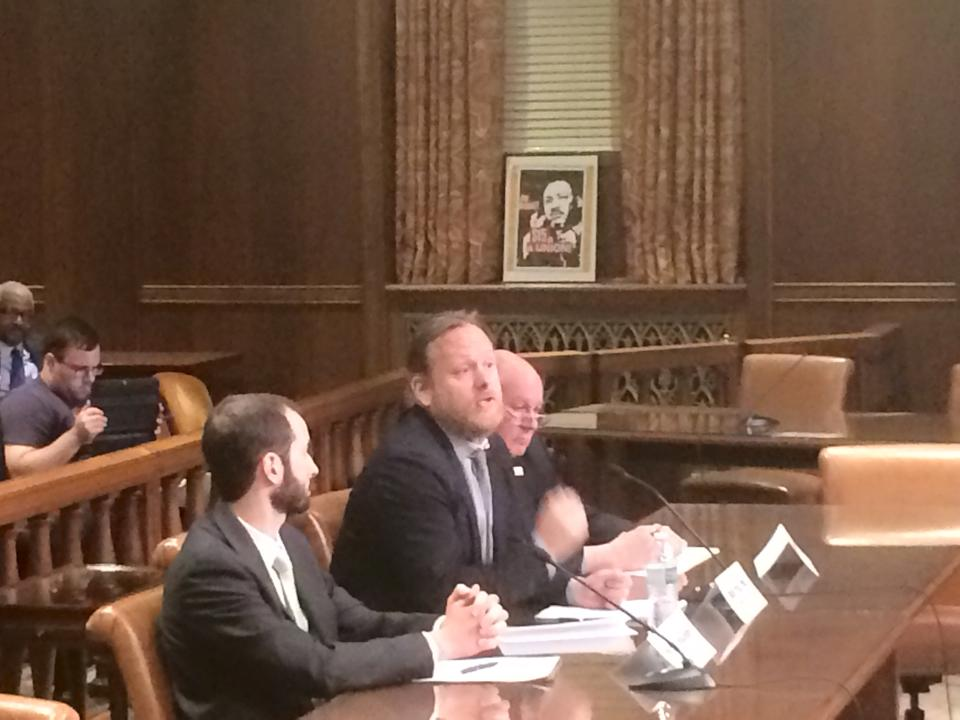 Economist Mark Price, of the Keystone Research Center, laying out the facts. Rick Bloomingdale, PA AFL-CIO president, and Michael Hollander, staff attorney at Community Legal Services, also testified.